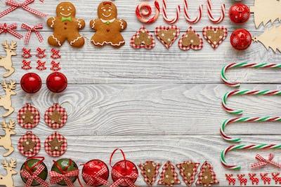Christmas homemade decoration flat lay