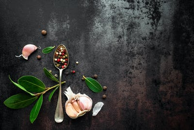 dark vintage metal culinary background top view