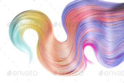 Multicolored hair lock isolated over white background