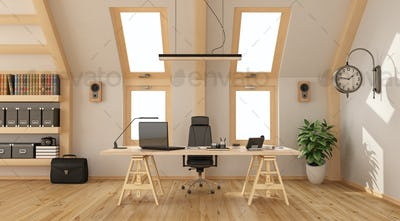 Wooden office in the attic