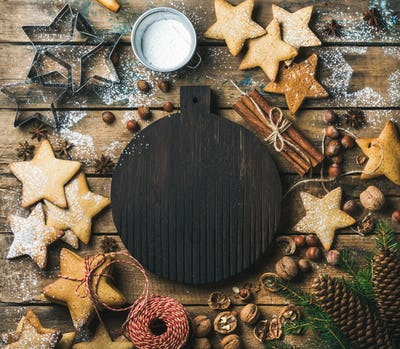 Christmas, New Year background with dark wooden board in center