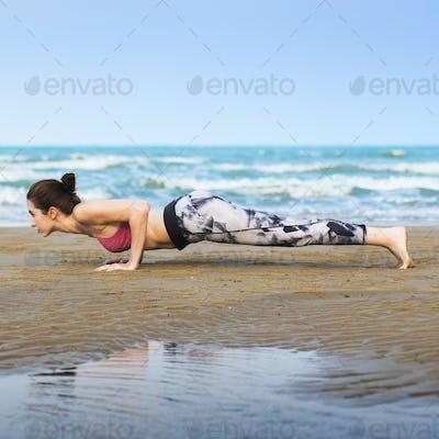 Woman Planking Stretching Flex Training Healthy Lifestyle Beach
