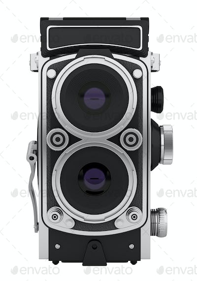 vintage film photo camera isolated on white background. 3d illustration