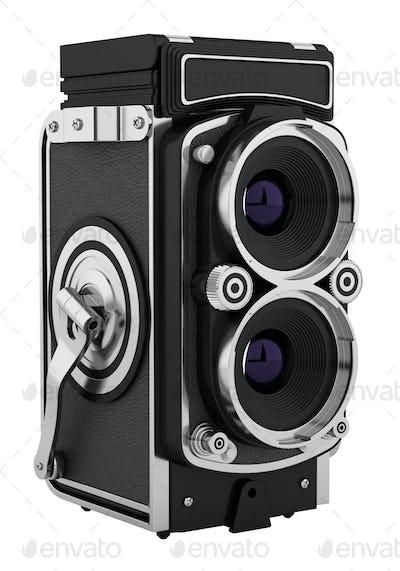 vintage film photo camera isolated on white background. 3d illustration