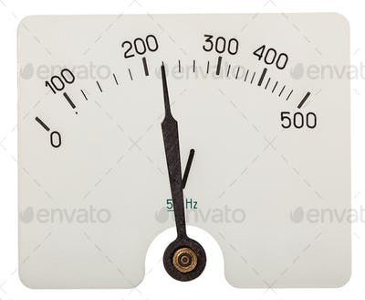 Arrow of voltmeter indicating an 220 volts, isolated on white ba