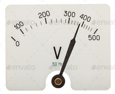 Arrow of voltmeter indicating an 380 volts, isolated on white ba