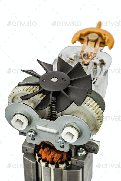 Part of electric motor with fan, close-up, isolated on white bac
