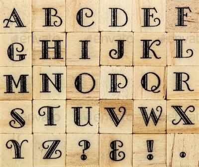 English alphabet uppercase, background of isolated wood letterpr