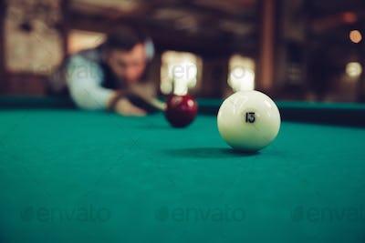 Man playing billiard