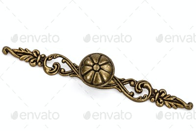 Furniture accessories: Stylish bronze  handles, isolated on a wh