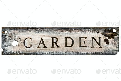 Vintage wooden sign on a white background - Garden