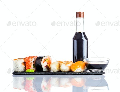 Sushi and Soy Sauce on White Background