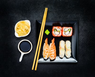 Sushi with Nigiri and Soy Sauce with Ginger