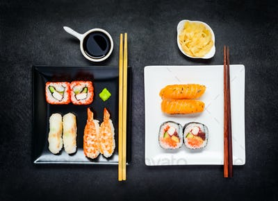 Two Plates with Japanese Food