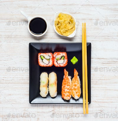 Sushi with Soy Sauce and Ginger