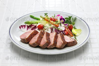 roast duck breast with vegetables