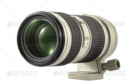 Zoom camera lens, isolated on white background