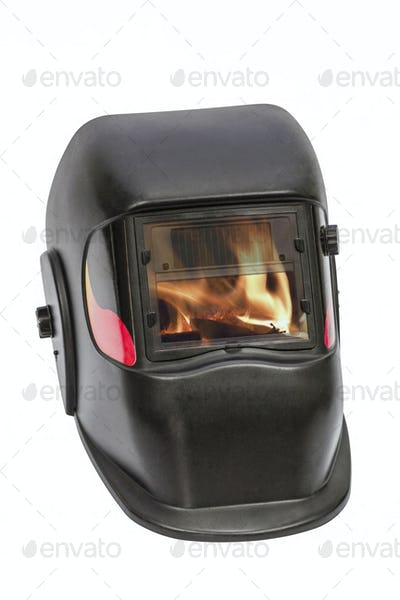 Firefighters mask, welding mask, isolated on white background, w