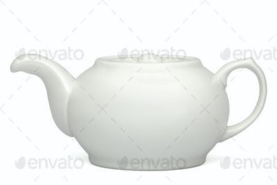 White teapot, isolated on white background, with clipping path