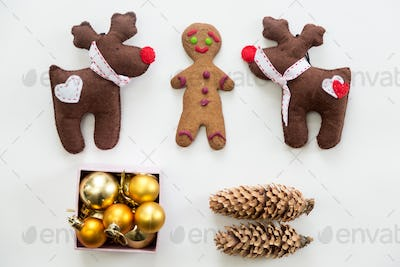 Flat view of cute Christmas decoration and toys