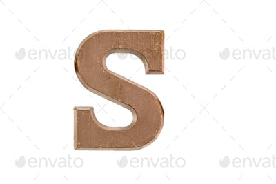 Chocolate letter on white
