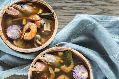 Two bowls of thai tom yum soup