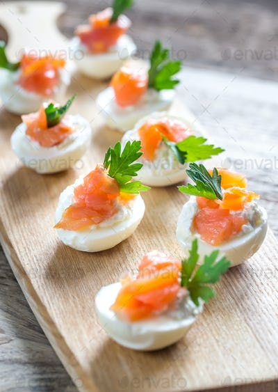 Salmon cream cheese deviled eggs