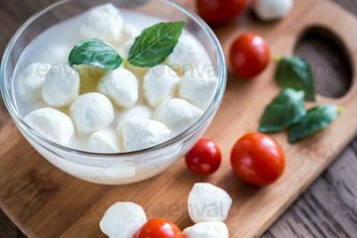 Bowl of Bocconcini mozzarella with fresh cherry tomatoes