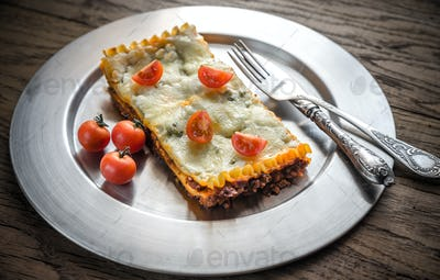 Lasagna on the metal plate