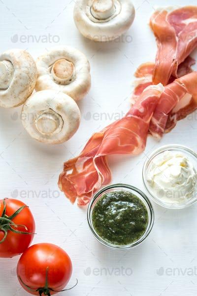 Ingredients for mushroom burger
