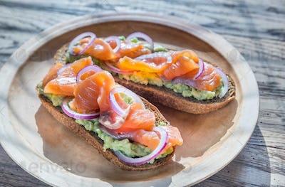 Toasts with avocado and smoked salmon