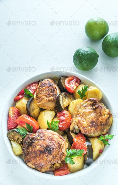 Indian spicy chicken with vegetables