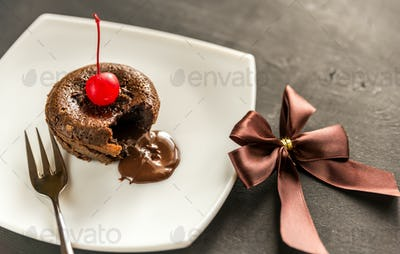Fondant decorated with cocktail cherry