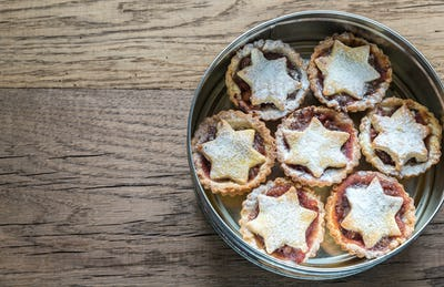 Box with mince pies: top view