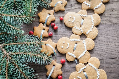 Gingerbread garland with Christmas tree branch