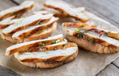 Ciabatta sandwiches with grilled chicken