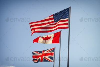 American Flag, Canadian Flag and Flag of Great Britain