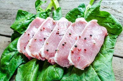 Raw meat steaks on spinach leaves
