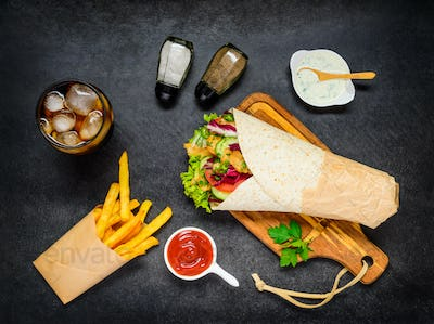Shawarma with French Fries and Cola on Ice