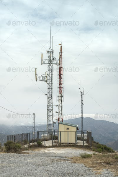 Telecommunication (GSM) towers with TV antennas