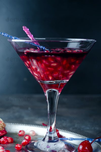 Pomegranate with red drink