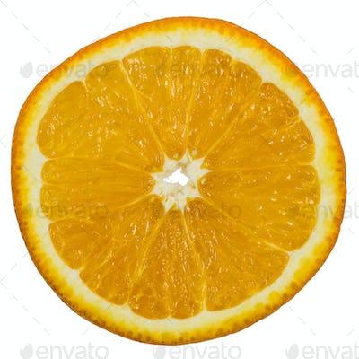 Slice of ripe orange, isolated on white background