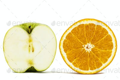 Half of orange and apple, isolated on white background
