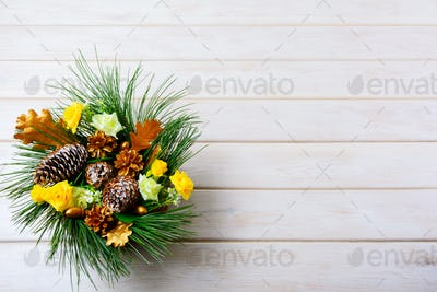 Christmas background with holiday golden cones decorated centerp
