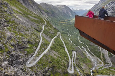 Norwegian mountain road. Trollstigen. Stigfossen waterfall. Norway tourist viewpoint. Horizontal