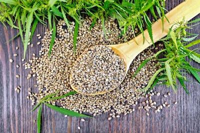 Grain hemp in spoon on dark board top