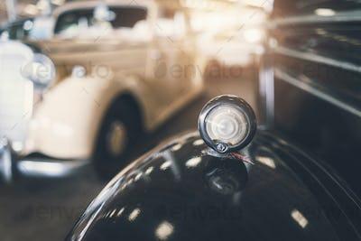 Close up of headlight Retro classic car