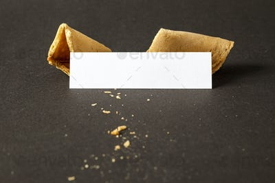 a fortune cookie with a blank paper for your message