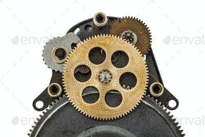 The mechanism with toothed wheels, isolated on white background