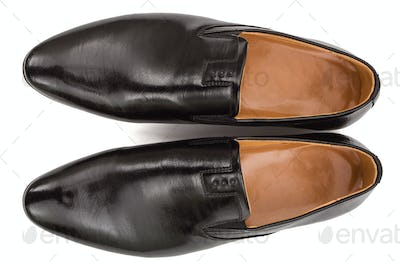 Classic male black leather shoes, isolated on white background,